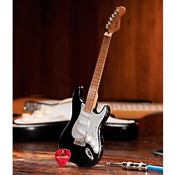 Hal Leonard Fender Stratocaster Black Vintage Distressed Miniature Guitar Replica Collectible (124401)