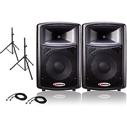 "Harbinger 12"" Powered PA Speaker Pair with Stands (APS12 PACKAGE)"