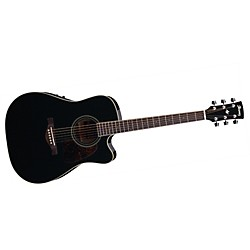 Ibanez Artwood Series AW70ECE Solid Top Dreadnought Cutaway Acoustic-Electric Guitar (USED004000 AW70ECEBK)