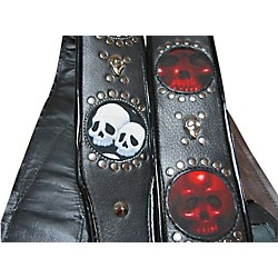 Jodi Head Voodoo Infinity White Leather with Black Skulls Guitar Strap (VDOO/INFINITY)