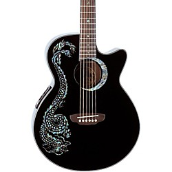 Luna Guitars Fauna Dragon Folk Acoustic-Electric Guitar (FAU DRA BLK)