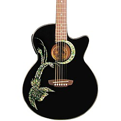 Luna Guitars Fauna Phoenix Folk Style Cutaway Acoustic-Electric Guitar (FAU PHX BLK)
