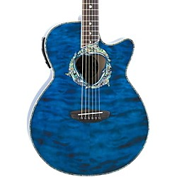 Luna Guitars Fauna Series Dolphin Folk Cutaway Acoustic-Electric Guitar (FAU DPN)
