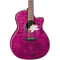Luna Guitars Flora Series Lotus Grand Auditorium Cutaway Acoustic-Electric Guitar (FLO LOT QM)