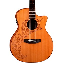 Luna Guitars Oracle Grand Concert Series Tattoo Acoustic-Electric Guitar (OCL TAT CDR)