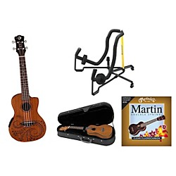 Luna Guitars Tattoo Acoustic-Electric Concert Ukulele Bundle (Tattoo A/E UKE BNDL)
