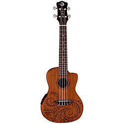 Luna Guitars Tattoo Concert Ukulele with Preamp (UKE TEC MAH)