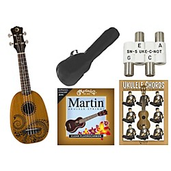 Luna Guitars Tattoo Pineapple Soprano Ukulele Bundle (Tattoo SOPR UKE BNDL)
