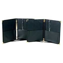 "Marlo Plastics Premium Concert Choral Folder 9-1/4 x 12"" with Elastic Stays, Pockets, Brass Corners, Pencil - Black (750285)"