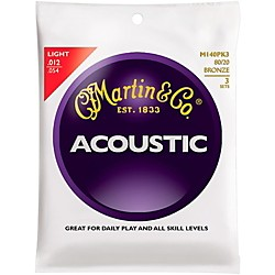Martin M140 Light Acoustic Guitar Strings - 3 Pack (KIT - M140)