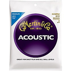 Martin M150 80/20 Bronze Round Wound Medium Acoustic Guitar Strings - 3 Pack (KIT - M150)
