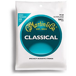 Martin M160 Silverplated Ball End High Tension Nylon Classic Guitar Strings (41M160)