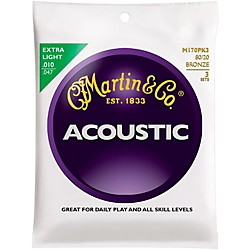 Martin M170 80/20 Bronze Round Wound Extra Light Acoustic Guitar Strings - 3 Pack (KIT - M170)