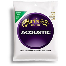 Martin M180 12-String 80/20 Bronze Extra Light Acoustic Guitar Strings (41M180)
