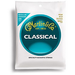 Martin M260 80/20 Bronze Ball End Tension Nylon Classic Guitar Strings (41M260)
