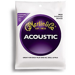 Martin M535 Traditional Phosphor Bronze Custom Light Acoustic Guitar Strings (41M535)