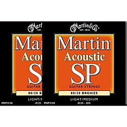 Martin MSP3150 SP Bronze Light/Medium Acoustic Guitar Strings 2 Pack (MSP3150-2PK)