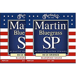 Martin MSP3250 SP Bronze Bluegrass Medium Acoustic Guitar Strings 2 Pack (MSP3250-2PK)
