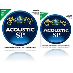 Martin MSP4000 SP Phosphor Bronze Extra Light Acoustic Guitar Strings (2 Pack) (MSP4000-2PK)