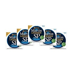 Martin SP 6200 80/20 Bronze Lifespan Coated Acoustic Strings Medium Regular - 5 PACK (6200 5PK KIT)