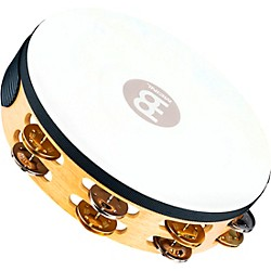 Meinl Recording-Combo Goat-Skin Wood Tambourine Two Rows Dual Alloy Jingles (TAH2M-SNT)