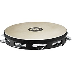 Meinl Super-Dry Studio Goat-Skin Wood Tambourine One Row Stainless Steel Jingles (STAH1S-BK)