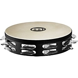 Meinl Super-Dry Studio Goat-Skin Wood Tambourine Two Rows Stainless Steel Jingles (STAH2S-BK)