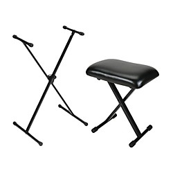 Musician's Gear Padded Keyboard Bench With Single-Braced Stand Combo (BCHSTD-Combo)