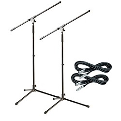Musician's Gear Tripod Mic Stand with 20 Foot Mic Cable (2 Pack) (MS220-LoZ 2-Pack)