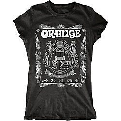 Orange Amplifiers Ladies Crest T-Shirt with White Crest (MC-T-SHIRT-CREST-LDY-BLK-)