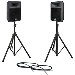 Peavey PR 12 Speaker Pair with Stands and Cables (PR12PAIRWSTD)