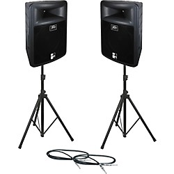 Peavey PR 15 Speaker Pair with Stands and Cables (PR15PAIRWSTD)