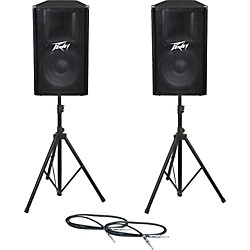 Peavey PV115 Speaker Pair with Stands and Cables (PV115PAIRWSTD)