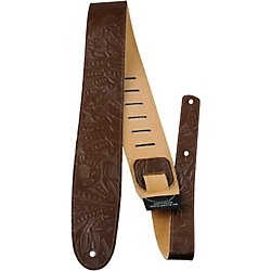 "Perri's 2.5"" Tooled Western Flower Embossed Leather Guitar Strap (P25W-571)"