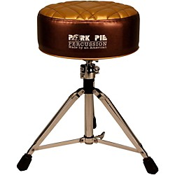 Pork Pie Deuce Half Tuck Round Drum Throne (PPTHDMBRNMGLDHT)