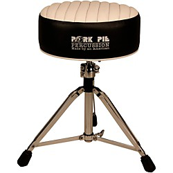 Pork Pie Deuce Tuck and Roll Round Drum Throne (PPTHDBLKWHTR)
