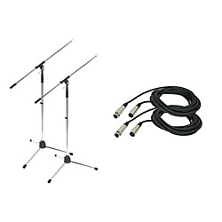 ProLine Tripod Microphone Stand with 20 Foot Microphone Cable (2 Pack) (2-PRO20M MS220CR-PRO-KIT)