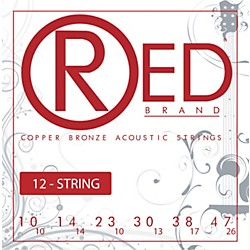 Red Strings Copper Bronze 12-String Acoustic Guitar Strings Light (7310-12)