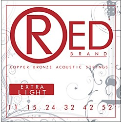 Red Strings Copper Bronze Acoustic Guitar Strings - Extra Light (7311)