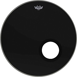 remo ebony powerstroke 3 resonant bass drum head with 5 port hole music arts. Black Bedroom Furniture Sets. Home Design Ideas
