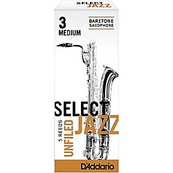 Rico Select Jazz Unfiled Baritone Saxophone Reeds (RRS05BSX3M)