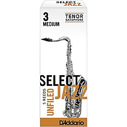 Rico Select Jazz Unfiled Tenor Saxophone Reeds (RRS05TSX3M)