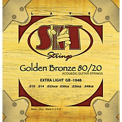 SIT Strings GB1048 Extra Light 80/20 Golden Bronze Acoustic Guitar Strings (GB1048)