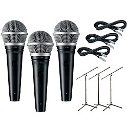Shure PG48 3-Pack Mic and Stand Kit (KIT773194)