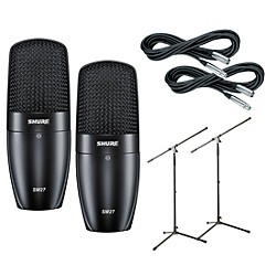 Shure SM27SC Condenser Mic w Cable and Stand 2 Pk (SM27SC2Pack)