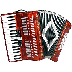 SofiaMari 34 Key 72 Bass Button Piano Accordion (SM3472-Red Pearl)