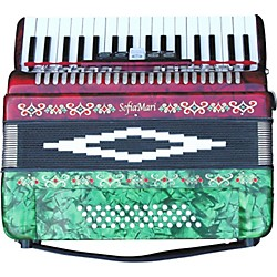 SofiaMari SM-3448 34-Key 48-Bass Piano Accordion (SM 3448 RED/GRN PRL)