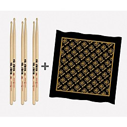 VIC FIRTH 3-Pair 5A Sticks with Free Vic Firth 50th Logo Bandana (P5A.3-VFBND.1)