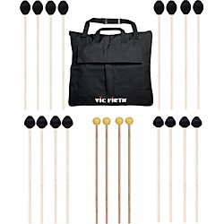 VIC FIRTH Keyboard Mallet 10-Pack w/ Free Mallet Bag - M183(4), M187(2), M188(2) ,M134(2) (M-10P-4M183)