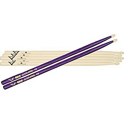 Vater 5B Hickory Wood-Tip Drumstick 3-Pack with Free Color Wrap Pair (VSP35B1B)